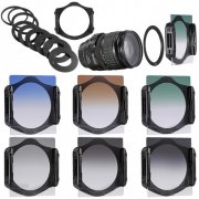 SBONY Graduated ND Filter Kit: (3)Graduated ND Filters, (3)Graduated Color Filters, (9)Metal Adapter Rings, (1)Square Filter Holder, (1)Filter Pouch