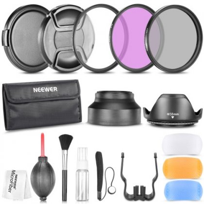 Tulip Lens Hood Microfiber Lens Cleaning Cloth Snap-On Lens Cap w//Cap Keeper Leash UV, CPL, FLD + Carry Pouch 55mm Professional Lens Filter Accessory Kit Filter Kit